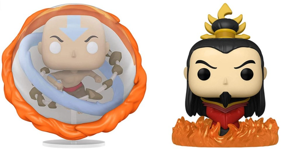 Funko POP! figures. Aang All Elements on the left, Ozai on the right.