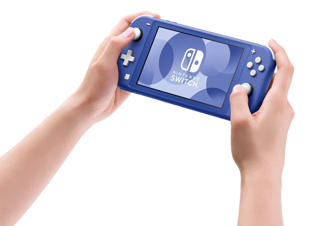 new Nintendo Switch Lite in blue front