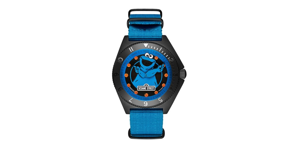 Bamford's Cookie Monster Mayfair Date watch on a blank white background.