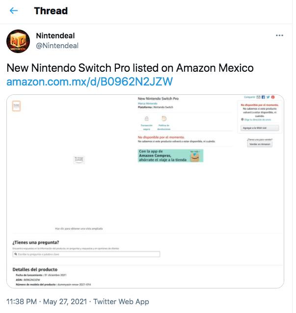 new Nintendo Switch Pro Amazon listing