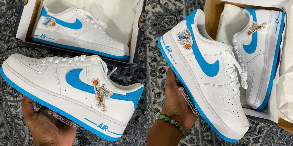 Nike Space Jam Hare Force One sneakers out of the box