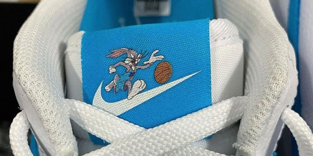 Closeup of Nike Hare Force One Space Jam sneaker tongue featuring Bugs Bunny