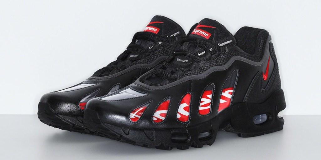 Supreme x Nike Air Max 96 in Black angle view