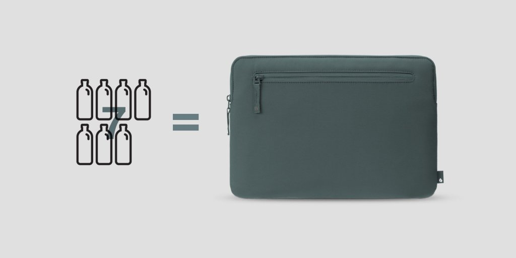 Incase x Bionic compact laptop sleeve bag made from recycled ocean plastic