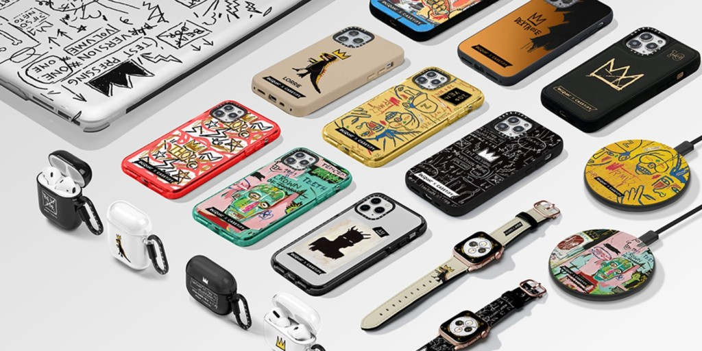 The entire CASETiFY x Basquiat collection layed out over a white background