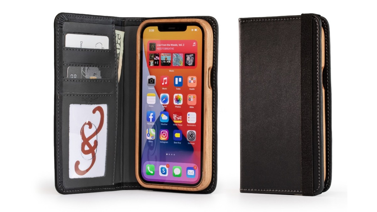 iPhone 12 Wood and Leather wallet case