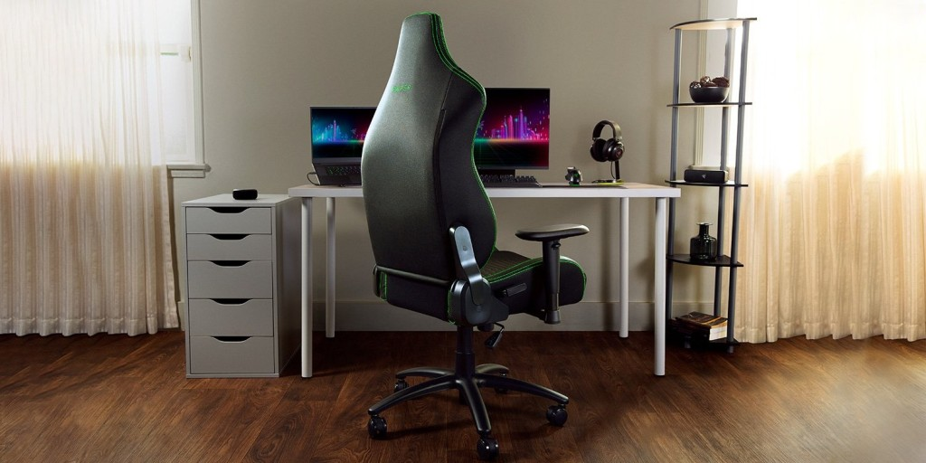 Razer Iskur X gaming chair in a naturalistic setting as seen from the back