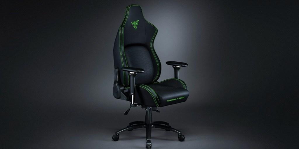 Razer Iskur X gaming chair in a dimly lit background