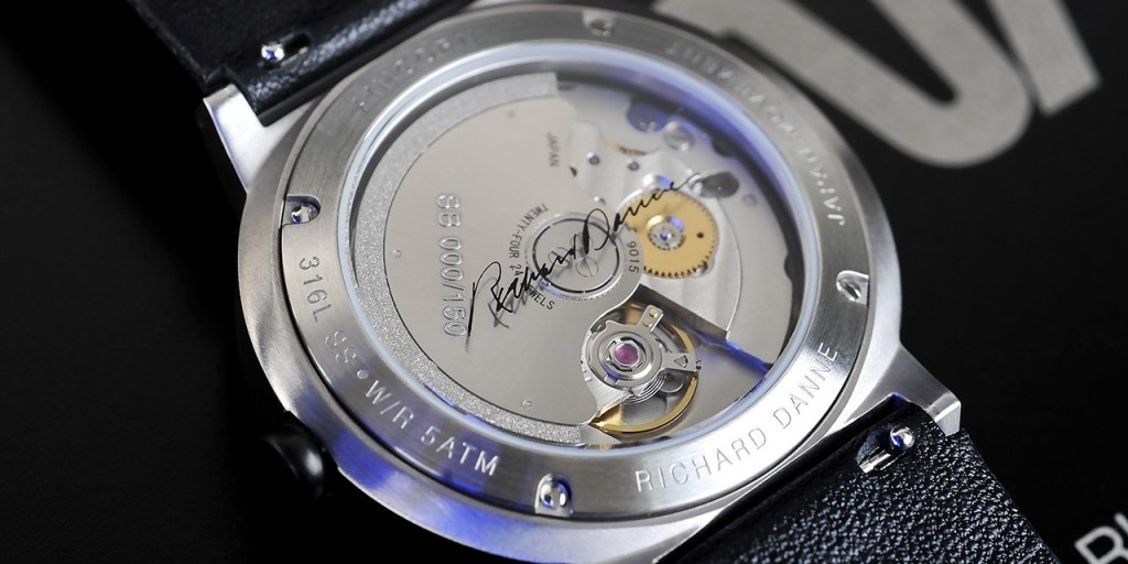 the back of Anicorn Space Watch featuring NASA designer Richer Danne's signature