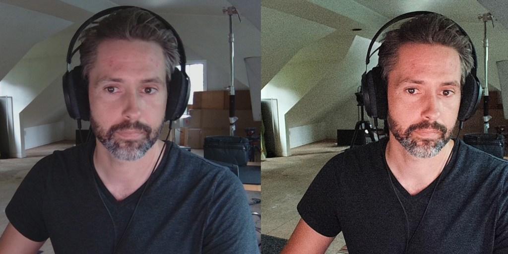 Razer Kiyo Pro on left, Elgato Facecam on right: low light