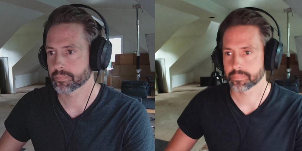 Razer Kiyo Pro on left, Elgato Facecam noise reduction on right