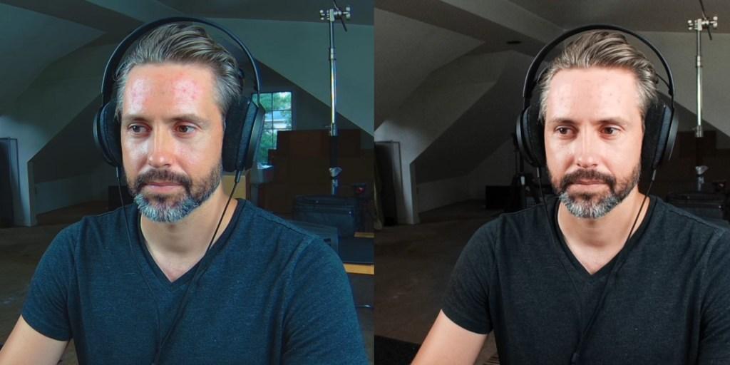 Razer Kiyo Pro on left, Elgato Facecam on right: studio lighting