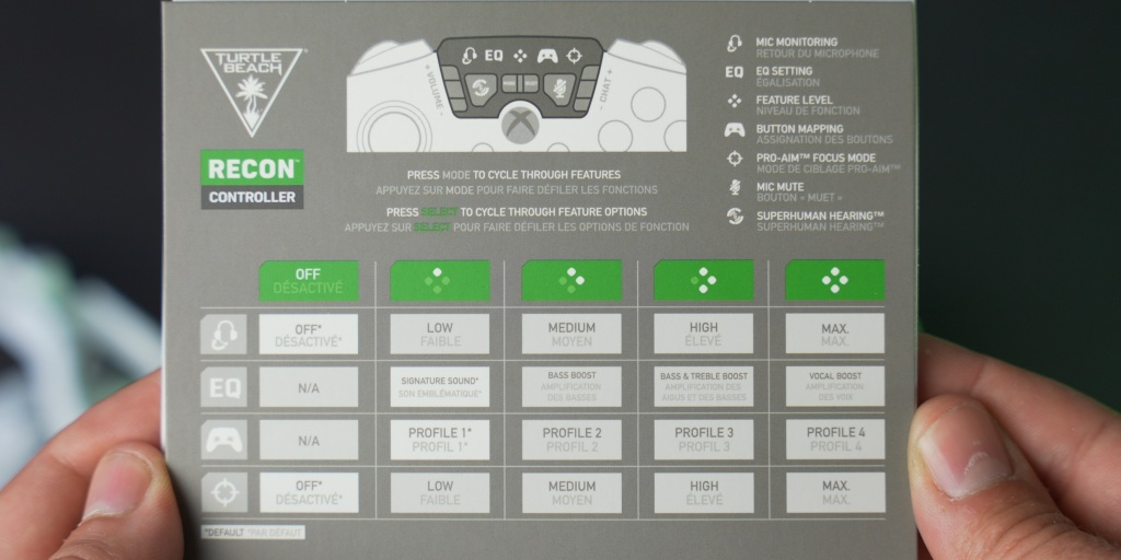 A diagram of features and options for audio, button mapping, and pro-aim focus mode.