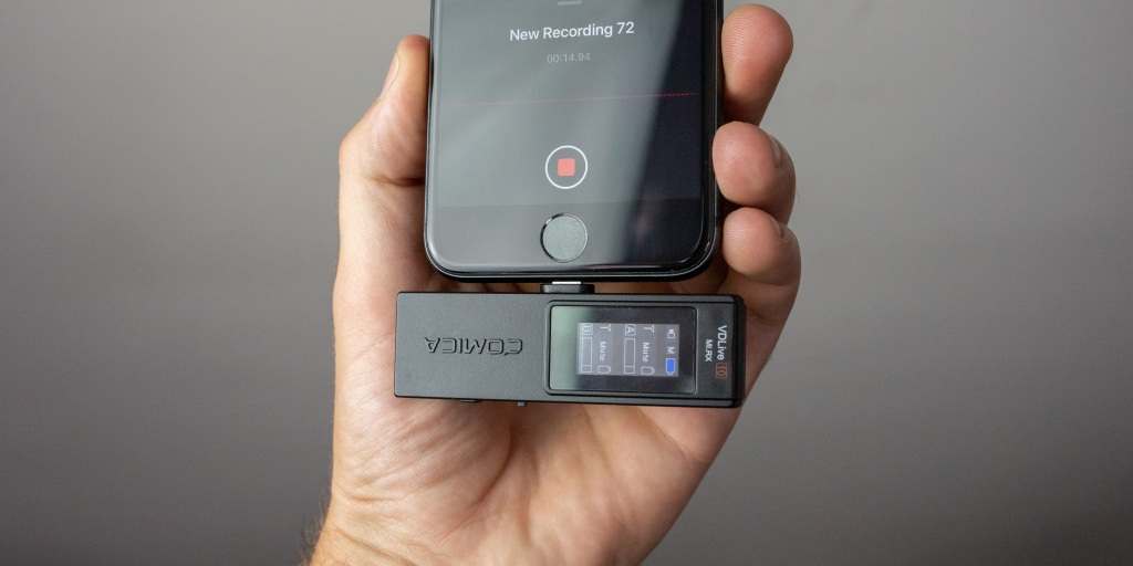 Comica VDLive10 recording in Voice Memos on an iPhone